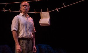 "Henry Godinez (Oscar Amalfitano) in ""Part II: The Part About Amalfitano"" of 2666, based on the novel by Robert Bolaño, adapted and directed by Robert Falls and Seth Bockley at Goodman Theatre (February 6 – March 20, 2016)."