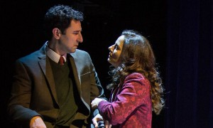 "Sean Fortunato (Piero Morini) and Nicole Wiesner (Liz Norton) in Part I: The Part About the Academics"" of 2666 based on the novel by Robert Bolaño, adapted and directed by Robert Falls and Seth Bockley at Goodman Theatre (February 6 – March 13, 2016)."