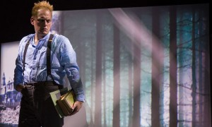 "Mark L. Montgomery (Hans) in ""Part V: The Part About Archimboldi"" of 2666 based on the novel by Robert Bolaño, adapted and directed by Robert Falls and Seth Bockley at Goodman Theatre (February 6 – March 13, 2016)."