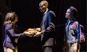 Sandra Delgado (Guadalupe Roncal), Eric Lynch (Oscar Fate) and Alejandra Escalante (Rosa Amalfitano) in Part III of 2666 based on the novel by Robert Bolaño, adapted and directed by Robert Falls and Seth Bockley at Goodman Theatre (February 6 – March 13, 2016).