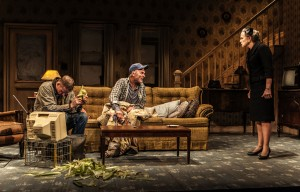 "Paul Sparks, Ed Harris, Amy Madigan in Sam Shepard's ""Buried Child,"" directed by Scott Elliott, Off-Broadway at The New Group. Photo credit: Monique Carboni."