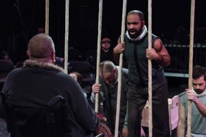 Martel Manning and ensemble in The Gift Theatre's RICHARD III. Photo by Claire Demos