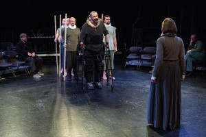 Michael Patrick Thornton (center) and ensemble in The Gift Theatre's RICHARD III. Photo by Claire Demos