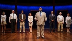 Charlette Speigner (Ensemble), Patrick Clear (Ensemble), Levenix Riddle (Omar), Tiffany Scott (Janice), James Earl Jones II (Carlyle Meyers), Tim Edward Rhoze (Carlyle's Father), Nate Whelden (Ensemble) and Maureen Gallagher (Ensemble) in Carlyle at Goodman Theatre.