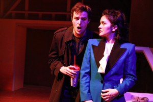Chris Ballou and Courtney Mack in Kokandy Productions' Chicago premiere of HEATHERS: THE MUSICAL by Kevin Murphy and Laurence O'Keefe, directed by James Beaudry, with music direction by Kory Danielson. Photo by Emily Schwartz.