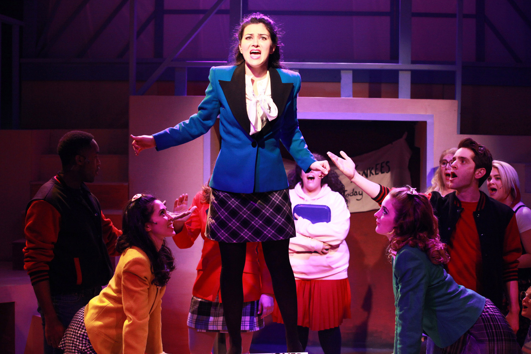 Courtney Mack  center  and the cast of Kokandy Productions      Chicago premiere of HEATHERS