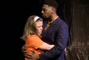Hilary Holbrook (Hermia) and Jos N. Banks (Lysander). Photo by Richard Engling