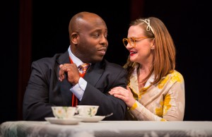James Earl Jones II (Carlyle Meyers) and Tiffany Scott (Janice) in Carlyle by Thomas Bradshaw, directed by Benjamin Kamine at Goodman Theatre.