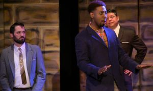 Jeremy Thompson (Theseus), Jos N. Banks (Lysander) and Charley Jordan (Egeus). Photo by Richard Engling