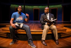 Levenix Riddle (Omar), James Earl Jones II (Carlyle Meyers) in Carlyle by Thomas Bradshaw, directed by Benjamin Kamine at Goodman Theatre.