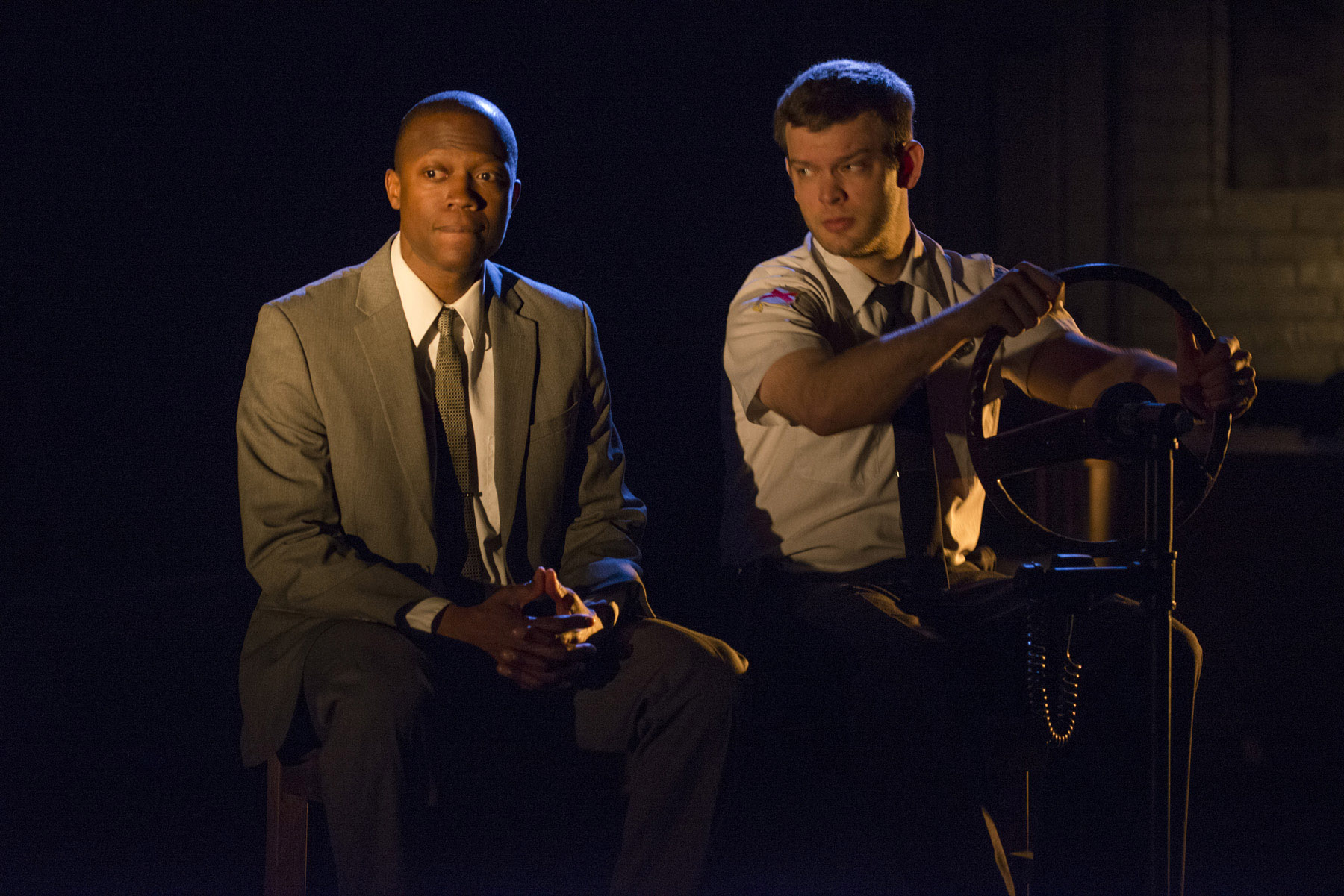 theater review in the heat of the night shattered globe theatre  manny buckley and drew schad in shattered globe theatre s production of in the heat of the