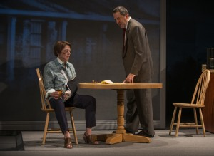 Laura T. Fisher (Mary Page Marlowe) and ensemble member Ian Barford (Ray) in Steppenwolf Theatre Company's production of Mary Page Marlowe, a world premiere written by ensemble member Tracy Letts and directed by artistic director Anna D. Shapiro.