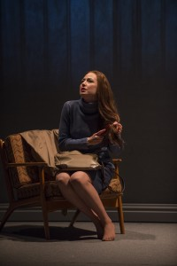 Carrie Coon (Mary Page Marlowe) in Steppenwolf Theatre Company's production of Mary Page Marlowe, a world premiere written by ensemble member Tracy Letts and directed by artistic director Anna D. Shapiro.