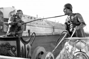 Messala (Francis X. Bushman) vs. Ben-Hur (Ramon Navarro) in the 1925 Silent Epic.