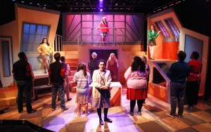 Rochelle Therrien, Jacquelyne Jones and Haley Jane Schafer with (front, center) Courtney Mack and the cast of Kokandy Productions' Chicago premiere of HEATHERS: THE MUSICAL by Kevin Murphy and Laurence O'Keefe, directed by James Beaudry, with music direction by Kory Danielson. Photo by Emily Schwartz.