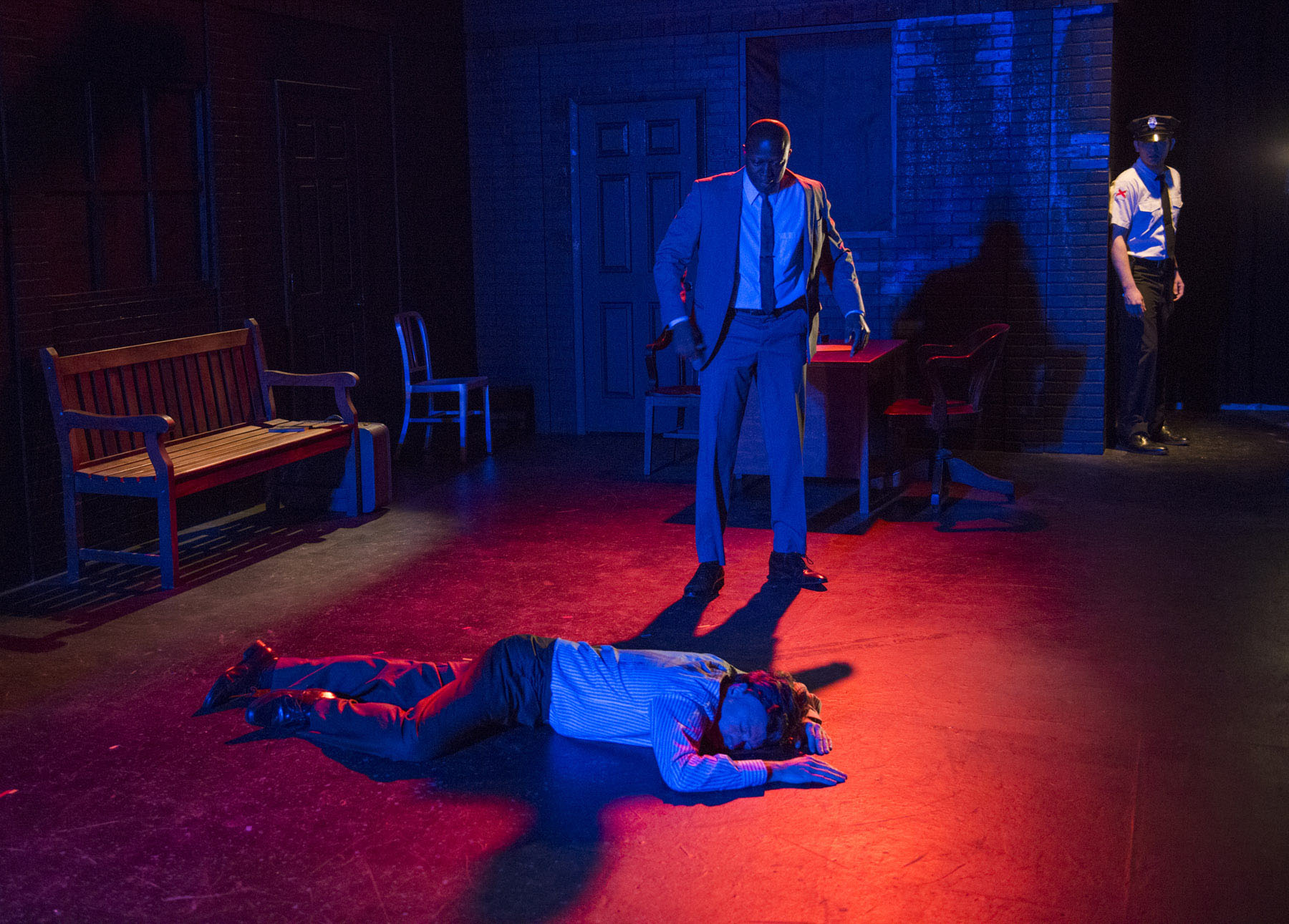 theater review in the heat of the night shattered globe theatre  tim newell manny buckley and drew schad in shattered globe theatre s production of in the in the heat of the night