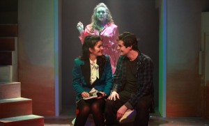 (back) Jacquelyne Jones with (front, left to right) Courtney Mack and Chris Ballou in Kokandy Productions' Chicago premiere of HEATHERS: THE MUSICAL by Kevin Murphy and Laurence O'Keefe, directed by James Beaudry, with music direction by Kory Danielson. Photo by Emily Schwartz.