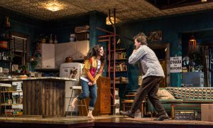 Diane Davis (Iris) and Chris Stack (Sidney Brustein) in The Sign in Sidney Brustein's Window by Lorraine Hansberry, directed by Anne Kauffman at Goodman Theatre