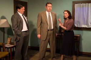 Michael Dailey, Scott Danielson, and Kat McDonnell in Strawdog's ONCE IN A LIFETIME. Photo by Tom McGrath.