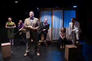 Michaela Petro, Brandon Saunders, Jamie Vann, Scott Danielson, Kat McDonnell, and Michael Dailey in Strawdog's ONCE IN A LIFETIME. Photo by Tom McGrath.