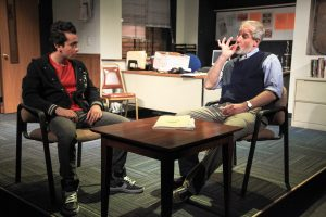 Salar Ardebili and Rob Frankel in Interrobang Theatre Project's Midwest premiere of THE NORTH POOL by Rajiv Joseph, directed by Co-Artistic Director James Yost