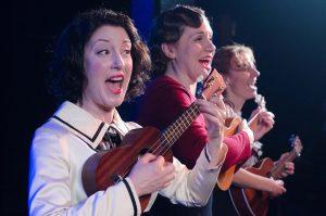 Sarah Goeden, Justine C Turner, Nicole Bloomsmith in Strawdog's ONCE IN A LIFETIME. Photo by Tom McGrath.