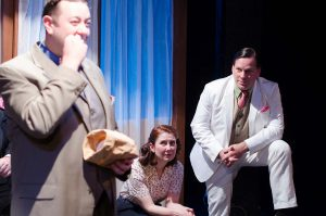 Scott Danielson, Kat McDonnell, and Michael Dailey in Strawdog's ONCE IN A LIFETIME. Photo by Tom McGrath.