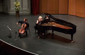 Cellist Colin Carr and pianist Bernadine Blaha. (Photo by Dario Griffin-USC)