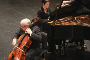Cellist David Geringas and pianist Rina Dokshitsky. (Photo by Daniel Anderson-USC)