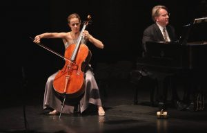 Cellist Sol Gabetta and pianist Kevin Fitz-Gerald. (Photo by Daniel Anderson-USC)