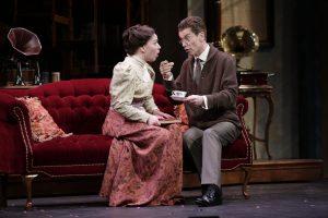 Elizabeth Telford as Eliza and Nicks Sandys as Henry Higgins.