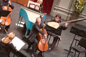 Italian cellist Giovanni Sollima with the Los Angeles Chamber Orchestra. (Photo Dario Griffin-USC)