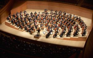 Over 100 cellists on stage at Walt Disney Concert Hall. (Photo by Dario Griffin-USC)