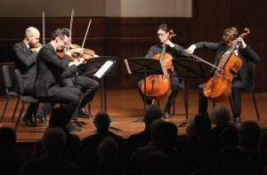 The Calder Quartet, which was formed at USC Thornton, perform with cellist Antonio Lysy. (Photo by Daniel Anderson-USC)