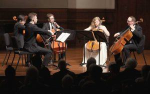 The SAKURA cello quintet. (Photo by Daniel Anderson-USC)