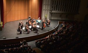 Thomas Demenga leads the Los Angeles Chamber Orchestra in Boccherini Cello Concerto at USC. (Photo by Dario Griffin-USC)