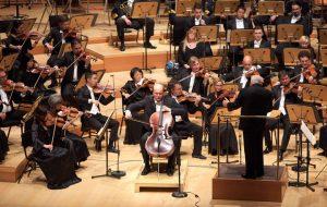 Truls Mørk performs Elgar's Cello Concerto with the LA Phil, under Leonard Slatkin. (Photo by Dario Griffin-USC)
