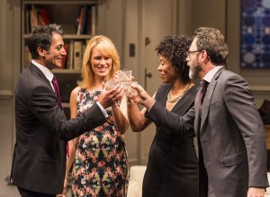 Hari Dhillon, Emily Swallow, Karen Pittman and J Anthony Crane in Ayad Akhtar's DISGRACED at Mark Taper Forum.