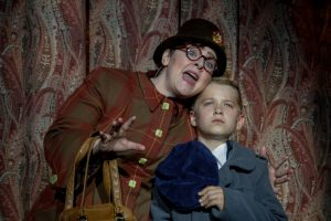 1) Alicia Berneche (Agnes Gooch) and Zachary Scott Fewkes (Young Patrick Dennis) in Light Opera Works' Mame August 20-28, 2016- at Cahn Auditorium in Evanston, IL.