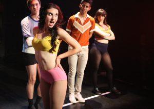 Brandon Carter, Victoria Rafael, Xavier Castaneda, and Angeline Mirenda in A CHORUS LINE, Chance Theater.