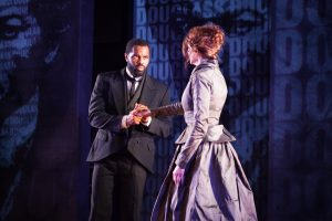 De'Lon Grant and Carrie Lee Patterson in the american vicarious' world premiere of DOUGLASS by Thomas Klingenstein, directed by Christopher McElroen. Photo by Evan Barr.