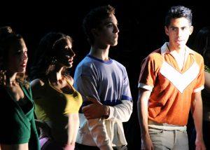 Emily Abeles, Victoria Rafael, Brandon Carter and Xavier Castaneda in A CHORUS LINE, Chance Theater.