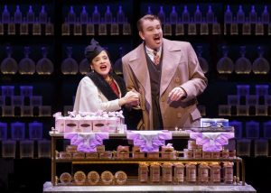 Patti LuPone (Helena Rubinstein) and Douglas Sills (Harry Fleming) in War Paint, a world premiere musical by Doug Wright, Scott Frankel and Michael Korie. Photo by Joan Marcus