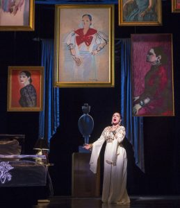 """Patti LuPone (Helena Rubinstein) sings """"Forever Beautiful"""" in War Paint, a world premiere musical by Doug Wright, Scott Frankel and Michael Korie. Photo by Joan Marcus"""