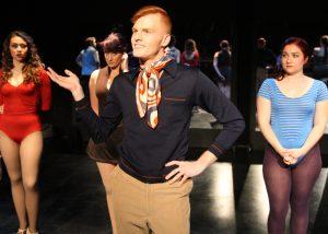 Tatiana Alvarez, Camryn Zelinger, Ben Heustess, and Ashley Arlene Nelson in A CHORUS LINE, Chance Theater.