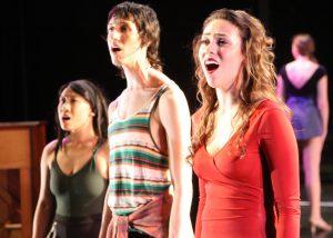 Tina Nguyen, Robbie Lundegard, Tatiana Alvarez in A CHORUS LINE, Chance Theater.