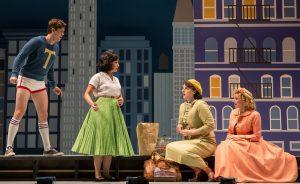 "Bri Sudia (Ruth) sings ""Swing"" along with ensemble members in Wonderful Town."