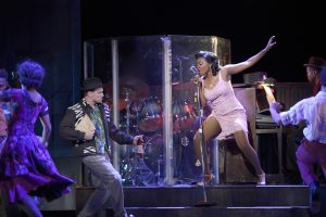 "MICHAEL MONROE GOODMAN as Huey and KRYSTLE SIMMONS as Felicia in Musical Theatre West's Production of ""Memphis."""