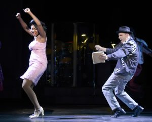 "KRYSTLE SIMMONS as Felicia and MICHAEL MONROE GOODMAN as Huey in Musical Theatre West's Production of ""Memphis."""