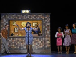 "MICHAEL MONROE GOODMAN as Huey, KRYSTLE SIMMONS as Felicia and the COMPANY of Musical Theatre West's Production of ""Memphis."""